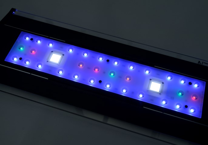The iLumenAir upside down, showing the frosted glass panel and the LED arrangement